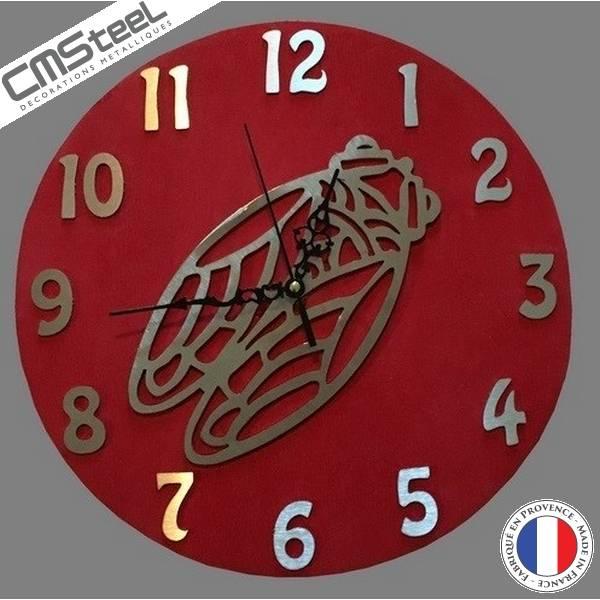 Horloge Bois + Inox Cigale